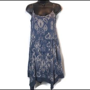 Sun and Shadow Blue Paisley Boho Dress